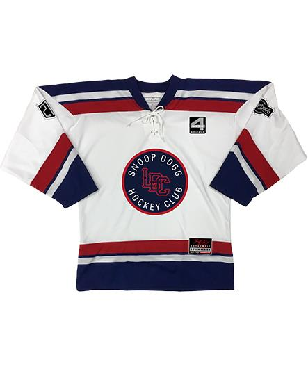 SNOOP DOGG 'LBC HOCKEY CLUB' hockey jersey in white, navy, and red front view