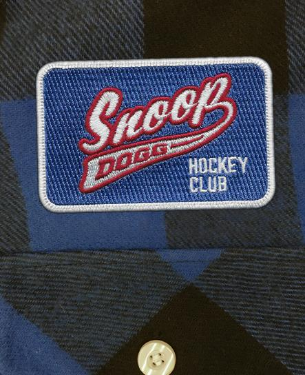 SNOOP DOGG 'PUCK DODGER' hockey flannel in blue plaid patch close up