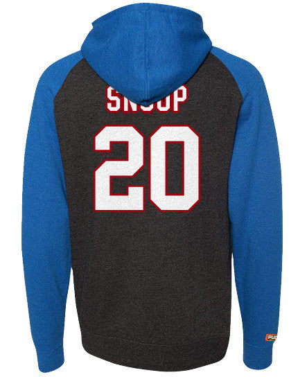 SNOOP DOGG 'PUCK DODGER' pullover raglan-style hockey hoodie in charcoal heather and royal back view