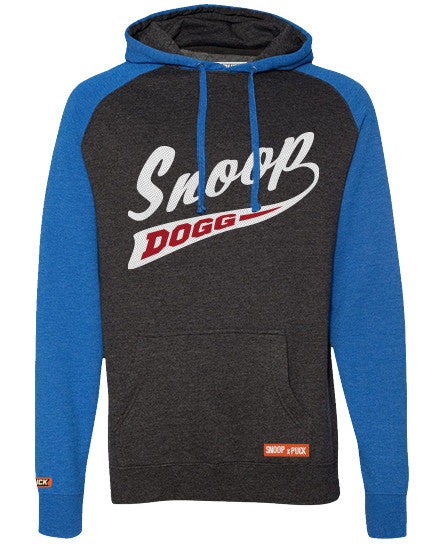 SNOOP DOGG 'PUCK DODGER' pullover raglan-style hockey hoodie in charcoal heather and royal