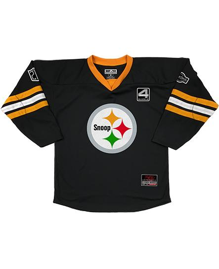 SNOOP DOGG 'SNOOPBURGH' hockey jersey in black, gold, and white front view