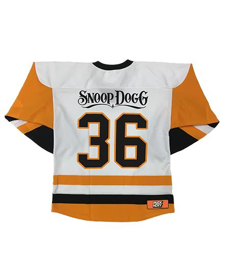SNOOP DOGG 'SNOOPBURGH' hockey jersey in white, gold, and black back view