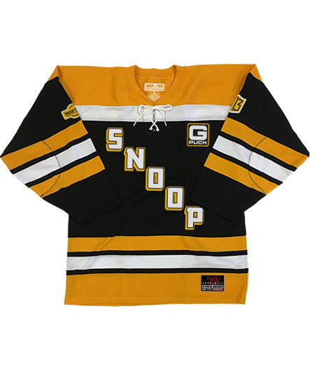 SNOOP DOGG 'STEELTOWN G-PUCK' hockey jersey in black, gold, and white front view