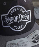 SNOOP DOGG 'THE DOGG FATHER' snapback hockey cap in black and grey close-up