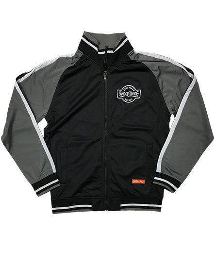 SNOOP DOGG 'THE DOGG FATHER' hockey track jacket in black, charcoal, and white
