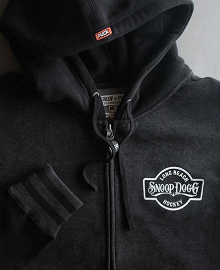 SNOOP DOGG 'THE DOGG FATHER' varsity hockey hoodie in charcoal heather and black close-up