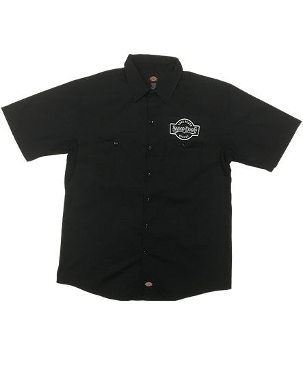 SNOOP DOGG 'THE DOGG FATHER' short sleeve hockey work shirt in black