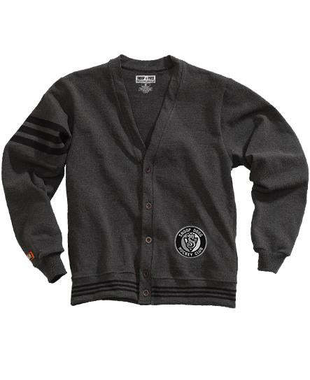 SNOOP DOGG 'THE KING' button-down hockey cardigan sweater in dark grey with black stripes