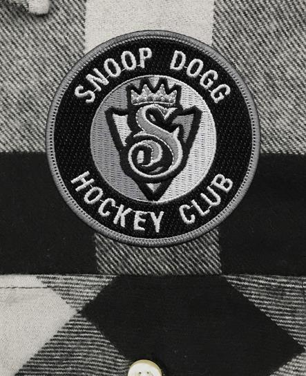 SNOOP DOGG 'THE KING' hockey flannel in grey plaid patch close-up