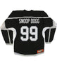 SNOOP DOGG 'THE KING' hockey jersey in black, grey, and white back view