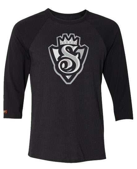 SNOOP DOGG 'THE KING' hockey raglan t-shirt in black heather with black sleeves front view