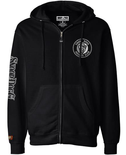 SNOOP DOGG 'THE KING' full zip hockey hoodie in solid black