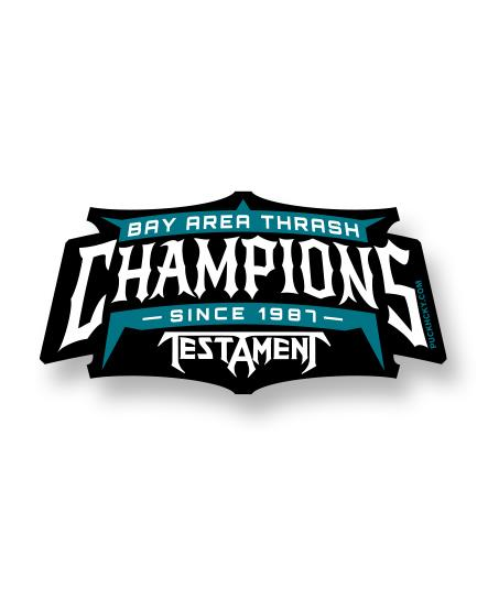 TESTAMENT 'BAY AREA THRASH CHAMPIONS' hockey sticker