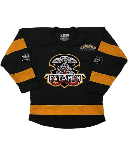 TESTAMENT 'BROTHERHOOD OF THE SNAKE - BOSTON' hockey jersey in black and gold front view