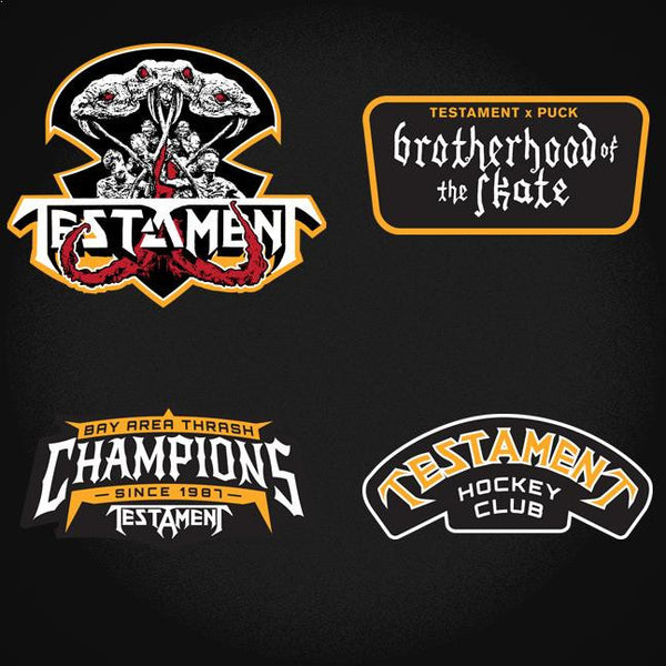 TESTAMENT 'BROTHERHOOD OF THE SNAKE - BOSTON' hockey jersey in black and gold close up of patches and crest designs