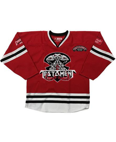 TESTAMENT 'BROTHERHOOD OF THE SNAKE - CHICAGO' hockey jersey in red, white, and black front view