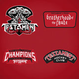 TESTAMENT 'BROTHERHOOD OF THE SNAKE - CHICAGO' hockey jersey in red, white, and black close up of patches and crest