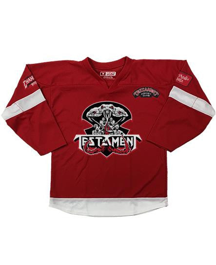 TESTAMENT 'BROTHERHOOD OF THE SNAKE - DETROIT' hockey jersey in red and white front view