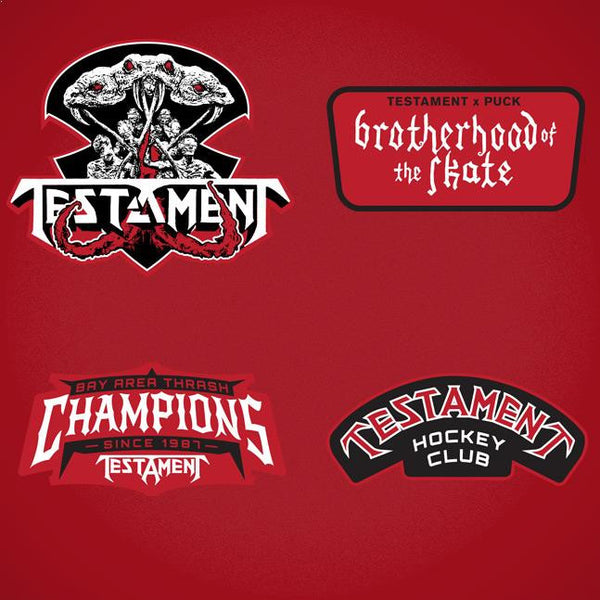 TESTAMENT 'BROTHERHOOD OF THE SNAKE - DETROIT' hockey jersey in red and white close up of patches and crest