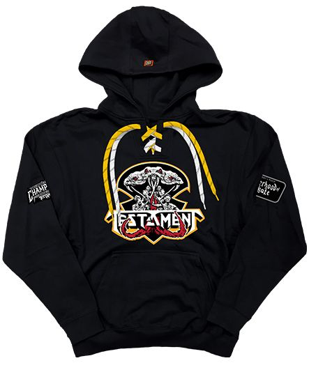TESTAMENT 'BROTHEROOD OF THE SNAKE - FACE-OFF' pullover hockey hoodie in black