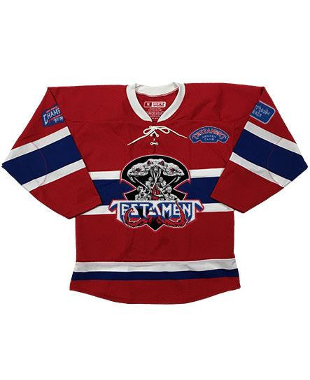 TESTAMENT 'BROTHERHOOD OF THE SNAKE - MONTREAL' hockey jersey in red, royal, and white front view