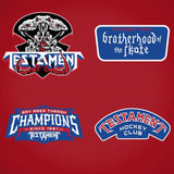 TESTAMENT 'BROTHERHOOD OF THE SNAKE - MONTREAL' hockey jersey in red, royal, and white close up of patches and crest