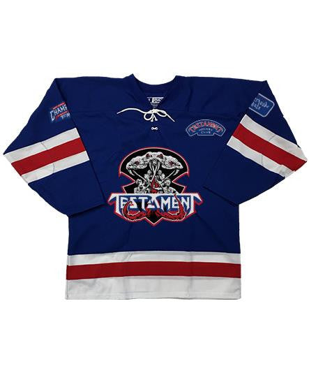 TESTAMENT 'BROTHERHOOD OF THE SNAKE - NEW YORK' hockey jersey in royal, white, and red front view