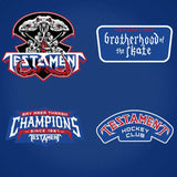 TESTAMENT 'BROTHERHOOD OF THE SNAKE - NEW YORK' hockey jersey in royal, white, and red close-up of patches and crest