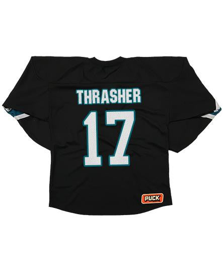 TESTAMENT 'BROTHERHOOD OF THE SNAKE - SAN JOSE' hockey jersey in black, pacific teal, and white back view