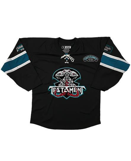 TESTAMENT 'BROTHERHOOD OF THE SNAKE - SAN JOSE' hockey jersey in black, pacific teal, and white front view