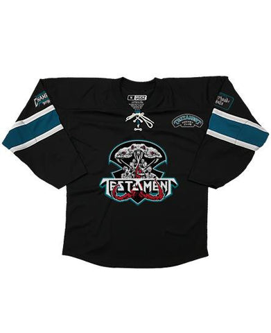 TESTAMENT 'PUCKS OF BLACK' HOCKEY JERSEY (white/teal/grey/black)