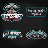 TESTAMENT 'BROTHERHOOD OF THE SNAKE - SAN JOSE' hockey jersey in black, pacific teal, and white close up of patches and crest