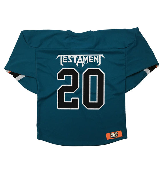 TESTAMENT 'DARK ROOTS - SHARKY' hockey jersey in pacific teal, black, white, and orange back view