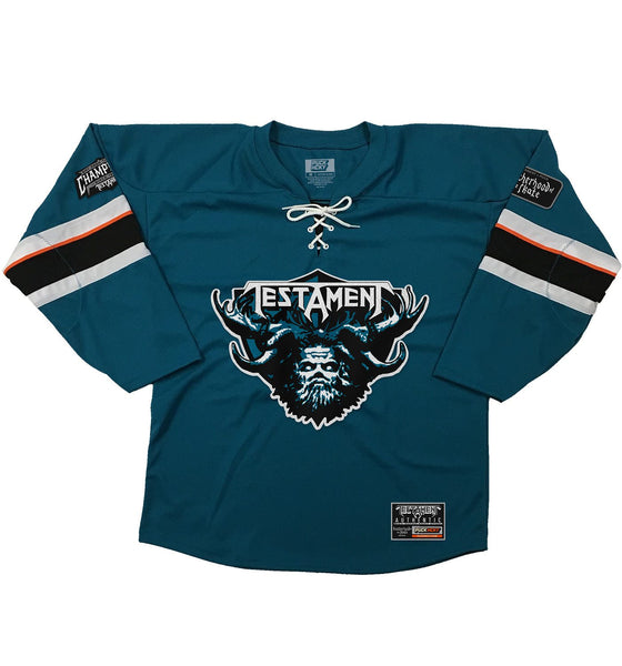 TESTAMENT 'DARK ROOTS - SHARKY' hockey jersey in pacific teal, black, white, and orange front view