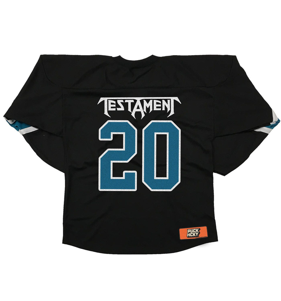 TESTAMENT 'DARK ROOTS - THRASHY' hockey jersey in black, pacific teal, and white back view