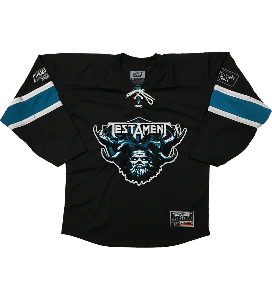 TESTAMENT 'DARK ROOTS - THRASHY' hockey jersey in black, pacific teal, and white front view