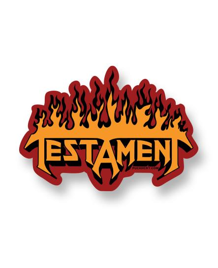 TESTAMENT 'FLAMES' hockey sticker