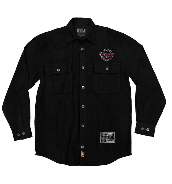 TESTAMENT 'OFFICIAL PUCK' hockey flannel in solid black front view