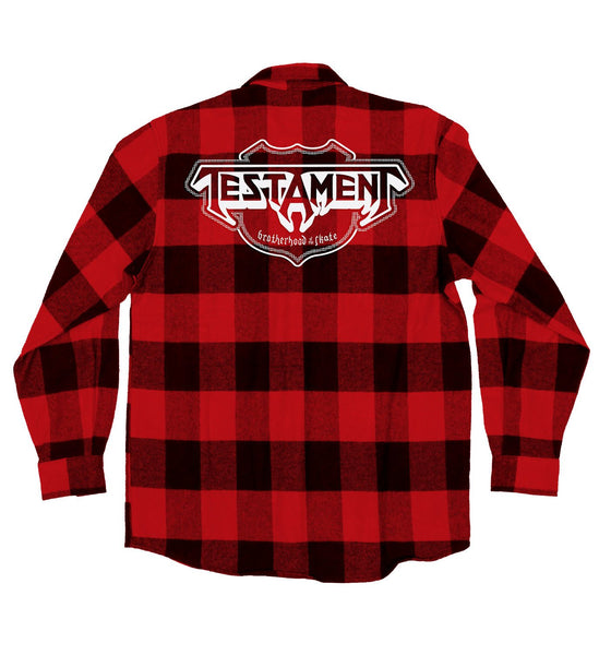 TESTAMENT 'OFFICIAL PUCK' hockey flannel in red plaid back view