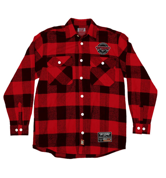 TESTAMENT 'OFFICIAL PUCK' hockey flannel in red plaid front view