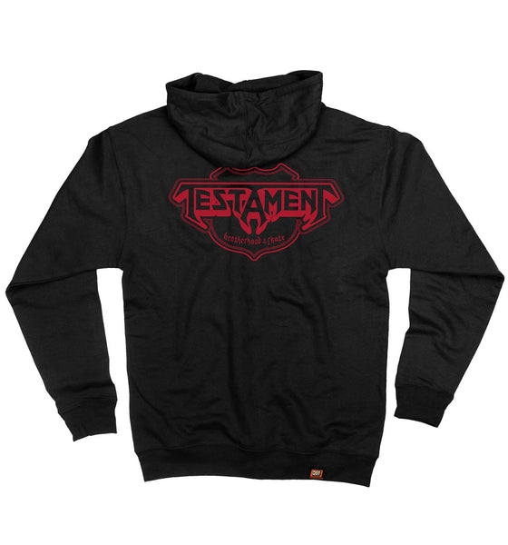 TESTAMENT 'OFFICIAL PUCK' full zip hockey hoodie in black back view