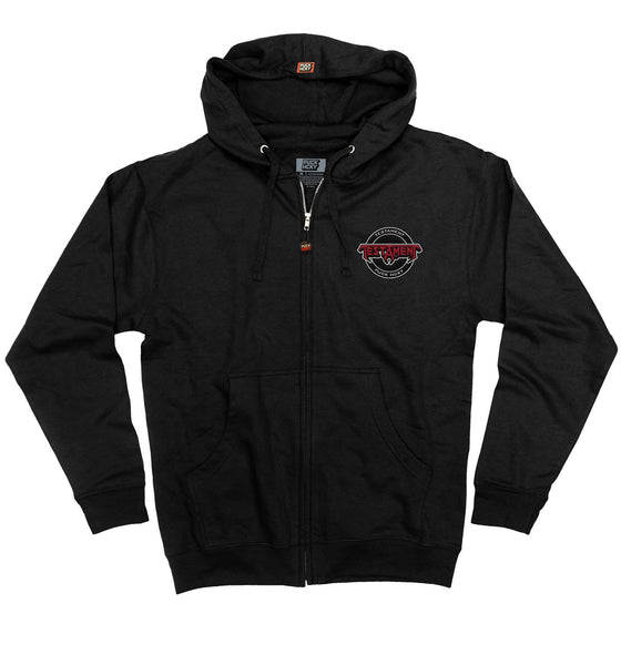 TESTAMENT 'OFFICIAL PUCK' full zip hockey hoodie in black front view