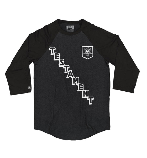 TESTAMENT 'ON THE DIAG' hockey raglan t-shirt in black heather with black sleeves