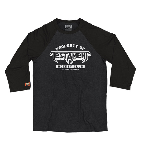 TESTAMENT 'PROPERTY OF' hockey raglan t-shirt in black heather with black sleeves