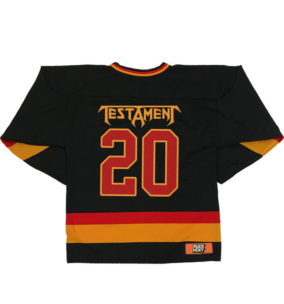 TESTAMENT 'PUCKS OF BLACK' hockey jersey in black, red, and gold back view