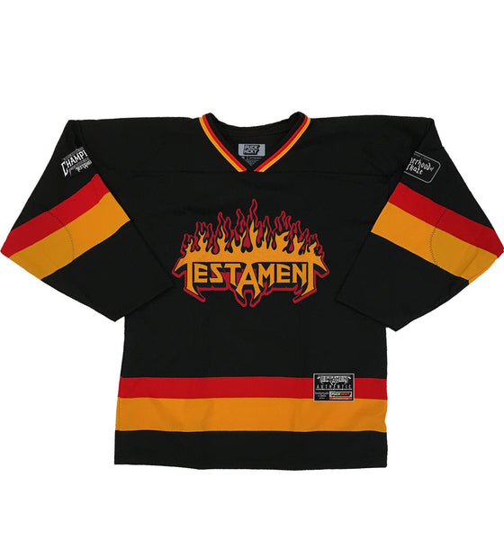 TESTAMENT 'PUCKS OF BLACK' hockey jersey in black, red, and gold front view