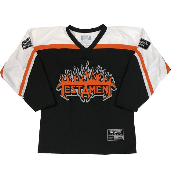 TESTAMENT 'PUCKS OF BLACK' hockey jersey in black, white, and orange front view