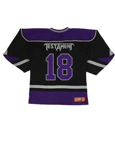 TESTAMENT 'PUCKS OF BLACK' hockey jersey in black, purple, and grey back view