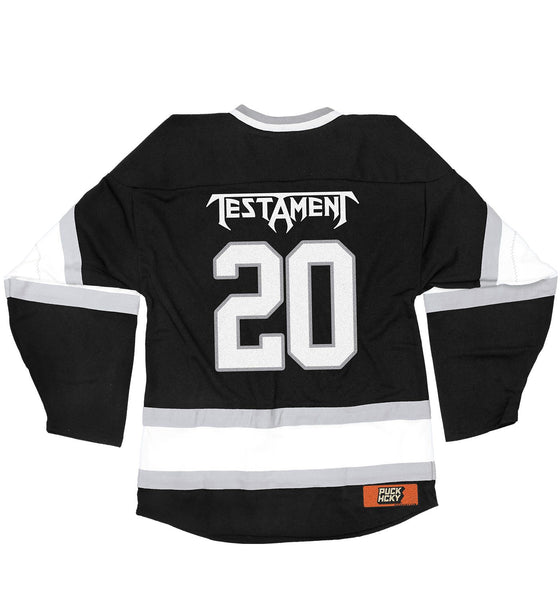 TESTAMENT 'PUCKS OF BLACK' hockey jersey in black, white, and grey back view