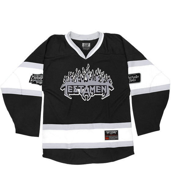 TESTAMENT 'PUCKS OF BLACK' hockey jersey in black, white, and grey front view
